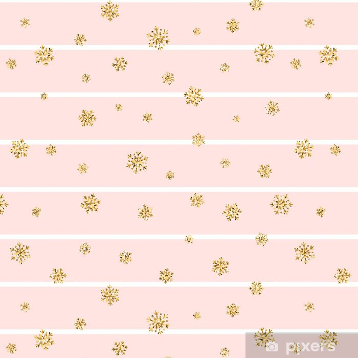 Christmas Gold Snowflake Seamless Pattern Golden Glitter Snowflakes On Pink White Lines Background Winter