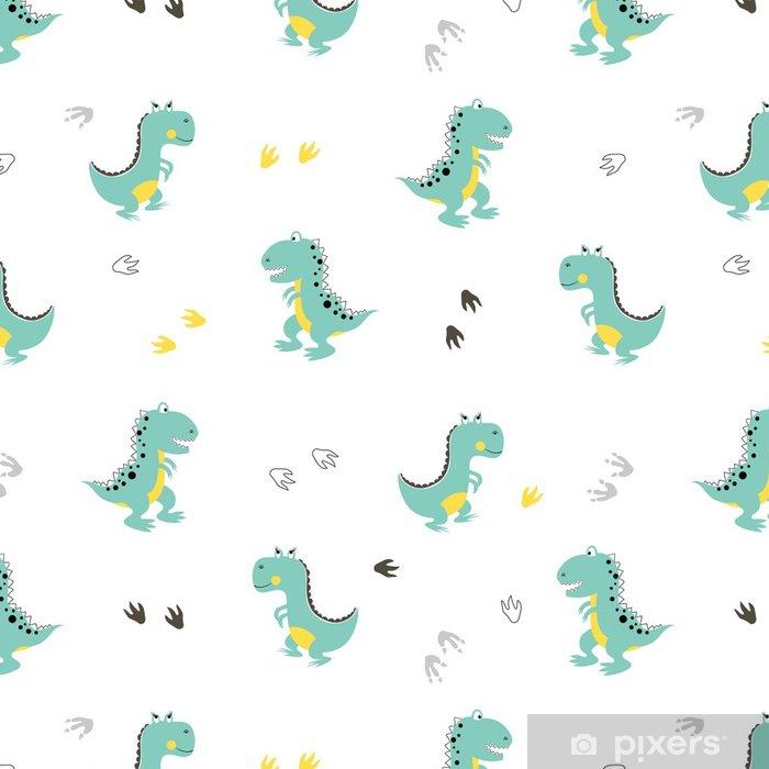 Cute Dinosaurs Pattern Vector Cartoon Dino Background Baby Print Vinyl Wallpaper