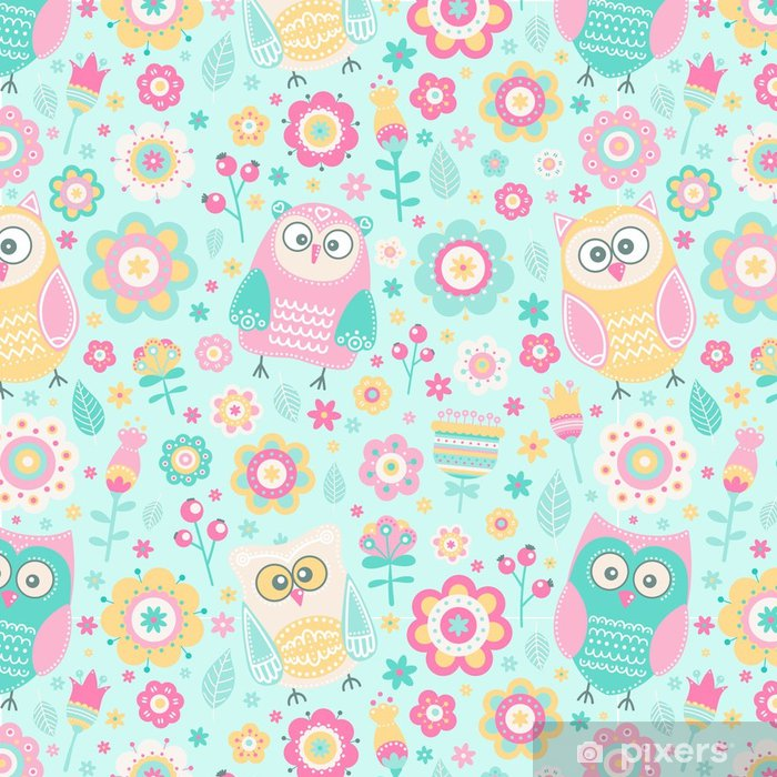 Cute Flat Owl Vector Seamless Pattern With Birds And Flowers Pastel Colors