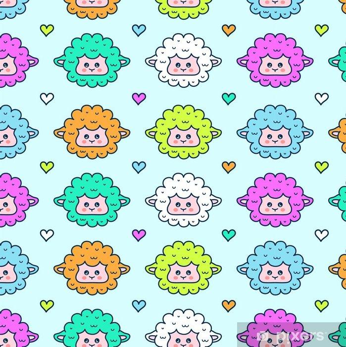 Cute Sheep Lamb Face Seamless Pattern Vinyl Wallpaper