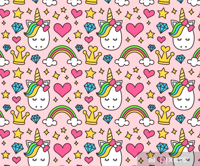 Cute Unicorn Princess Concept Girl Beauty Seamless Pattern Isolated On Pink Background Vector