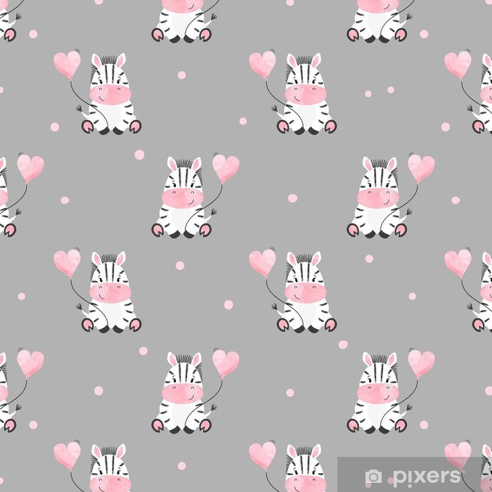 Cute Zebra With Balloon Seamless Pattern Vector Kids Background Baby Print Vinyl Wallpaper