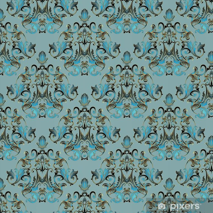 Light Blue Background Wallpaper Illustration With Vintage Gold Flowers Scroll