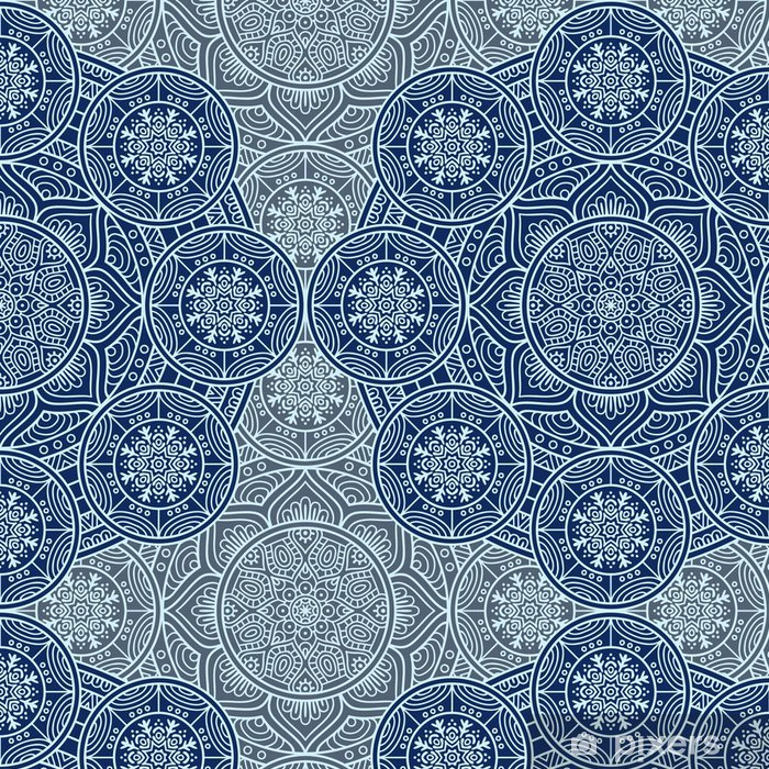 Ethnic Floral Seamless Pattern Vinyl Wallpaper