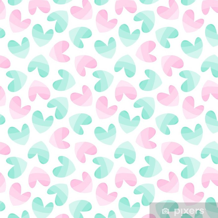 Light Pink And Mint Heart With Watercolor Effect Seamless Vector Pattern Vinyl Wallpaper