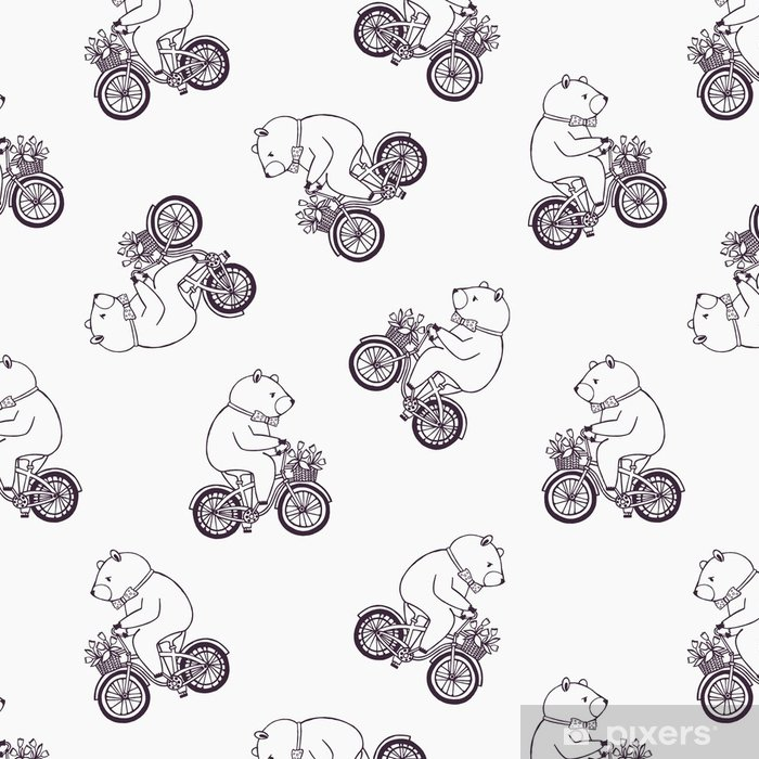 Lovely Seamless Pattern With Funny Cartoon Bear Wearing Dotted Bow Tie And Riding Bicycle Basket