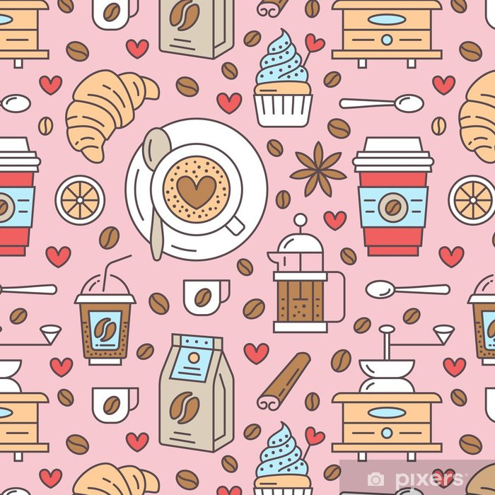 Seamless Pattern Of Coffee Vector Background Cute Beverages Hot