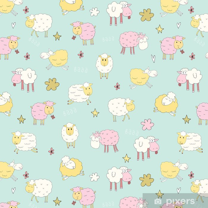 Seamless Pattern With Cute Sheep Fun Fluffy In Gentle Tones Funny Characters