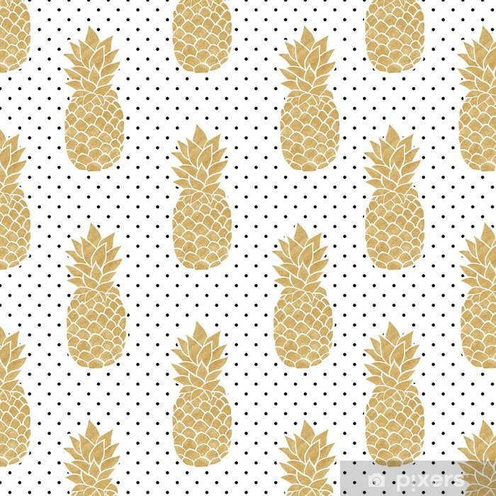 Seamless Pattern With Gold Pineapples On Polkadot Background Black White And Pineapple