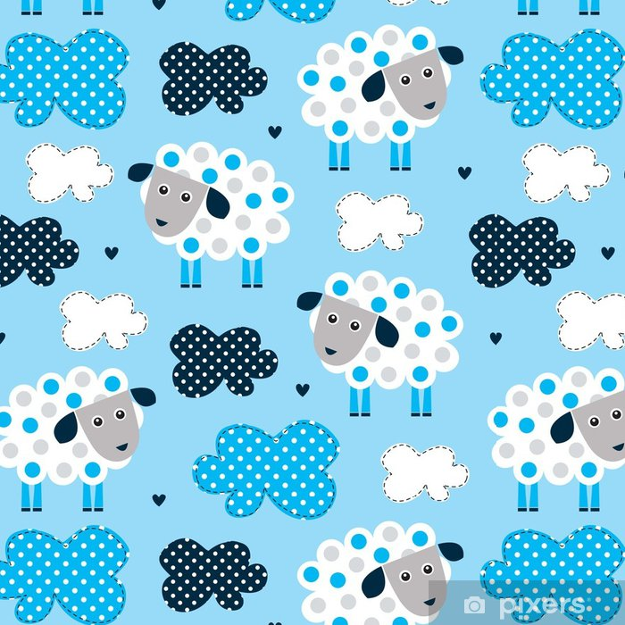 Seamless Sheep And Clouds Pattern Vector Illustration Vinyl Wallpaper