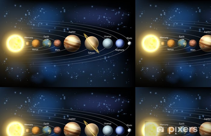 Sun And Planets Of The Solar System Vinyl Wallpaper