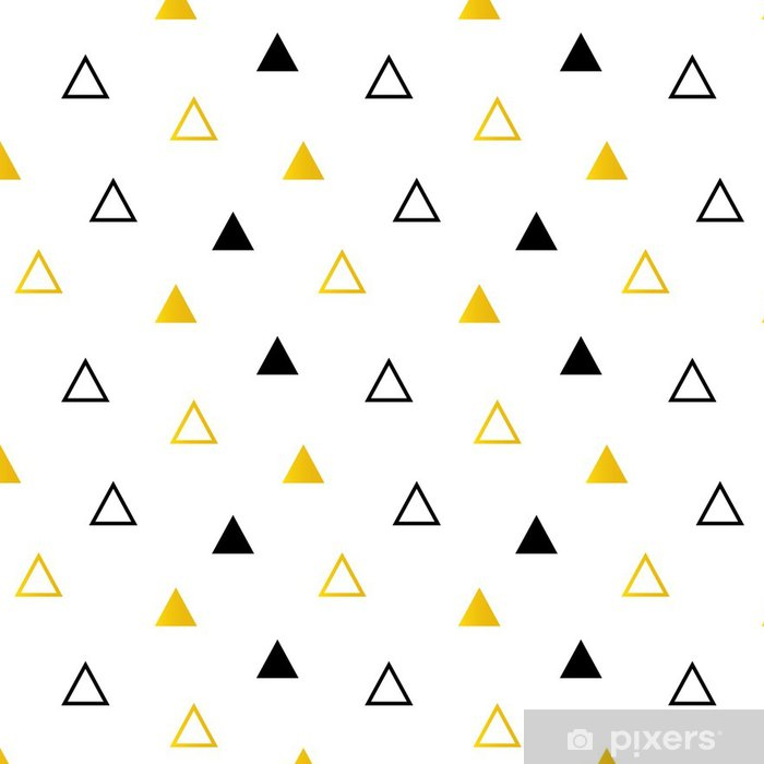 Trendy Black And Gold Triangles On White Seamless Pattern Background Vinyl Wallpaper