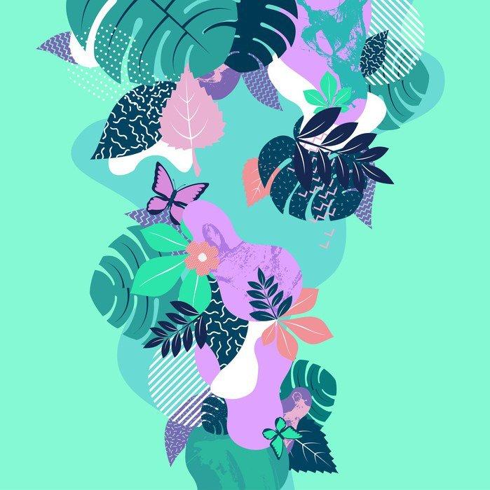 Naklejka na Stolik Lack Abstrakcyjnych kompozycji kwiatowych. Płaski tła. - Rośliny i kwiaty