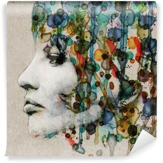 Abwaschbare Fototapete Aquarell weibliches Profil