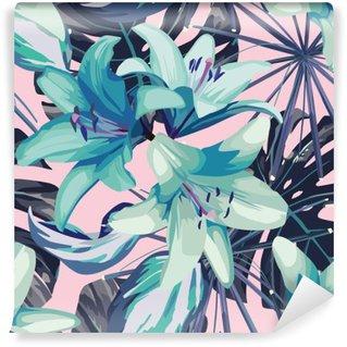 Abwaschbare Fototapete Blaue Lilie und Blätter nahtlose Hintergrund