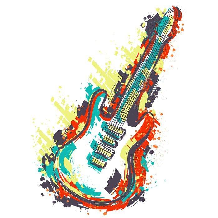 Abwaschbare Fototapete Elektrische Gitarre. Hand gezeichnete Grunge ...