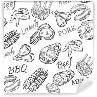 Abwaschbare Fototapete Fleisch Sketch Seamless Pattern