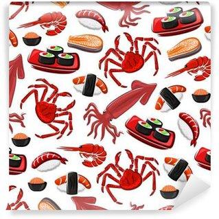 Abwaschbare Fototapete Japanische Meeresfrüchte-Küche nahtlose Muster