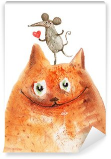 Abwaschbare Fototapete Katze mit Mause