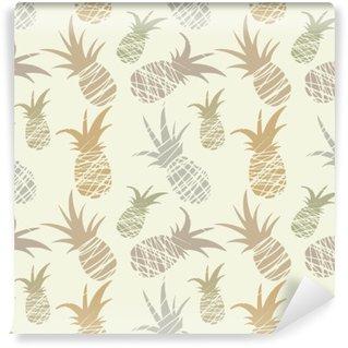 Abwaschbare Fototapete Nahtlose Muster mit Ananas, Jahrgang
