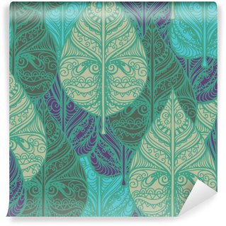 Abwaschbare Fototapete Nahtlose Muster mit Blättern