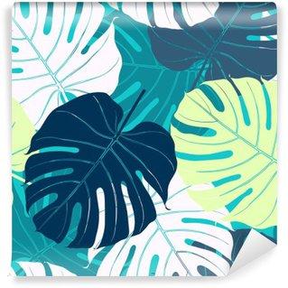 Abwaschbare Fototapete Nahtlose Muster mit Palmblättern
