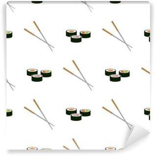 Abwaschbare Fototapete Nahtlose Muster mit Sushi-Symbole für Ihr Design