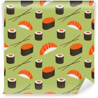 Abwaschbare Fototapete Nahtloses Muster mit Sushi.