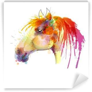 Abwaschbare Fototapete Pferdekopf Aquarellmalerei