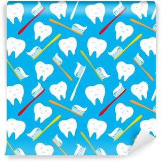 Abwaschbare Fototapete Weiße Zähne und bunte Zahnbürsten.