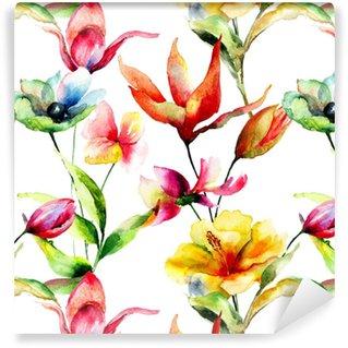 Abwaschbare Tapete Nahtlose Tapete mit stilisierten Blumen