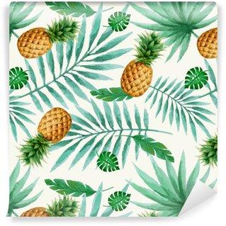 Abwaschbare Tapete Nahtloses Muster der exotischen Früchte, Aquarell.