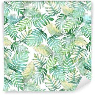 Abwaschbare Tapete Nahtloses Muster der tropischen Blätter von monstera Philodendron und von Palmblättern im hellen grün-gelben Farbton, tropischer Hintergrund.