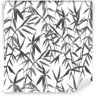 Abwaschbare Tapete Nahtloses Muster des Bambusses auf grünem Hintergrund in der japanischen Art, helle frische Blätter, realistisches Schwarzweiss-Design, Vektorillustration