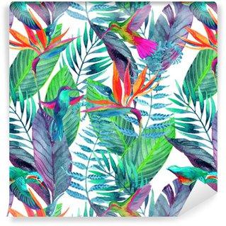 Abwaschbare Tapete Tropische Blätter nahtlose Muster. Blumenmuster Hintergrund.