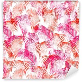 Abwaschbare Tapete Tropisches Aquarell Muster. Palmen und tropische Zweige in nahtloser Tapete auf einem weißen Hintergrund. digitale Kunst. kann für Manufaktur und Textilien verwendet werden