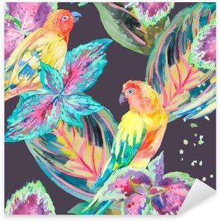 Adesivo Pixerstick Acquerello pappagalli .Tropical fiori e foglie.