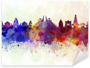Adesivo Pixerstick Bali skyline in background acquerello