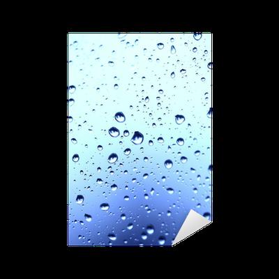 Adesivo bella astrazione con gocce d 39 acqua su vetro blu for Finestra con gocce d acqua