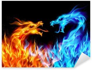 Pixerstick per Tutte le Superfici Blu e rosso fuoco Dragons