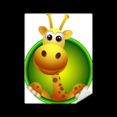 Adesivo carino giraffa testa cartone animato pixers - Cartone animato giraffe immagini ...