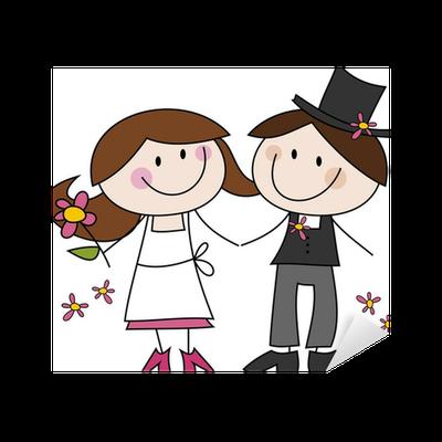 Adesivo cartoon disegno sposi felici pixers viviamo for Disegno sposi