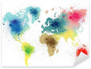 Pixerstick per Tutte le Superfici Colorata mappa del mondo con spruzzi di vernice