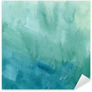 Pixerstick per Tutte le Superfici Disegnata a mano blu turchese, verde acquerello pittura astratta trama. Raster gradiente splash sfondo.