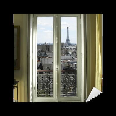 Adesivo francia parigi finestra con la torre eiffel e - Finestre sui tetti ...