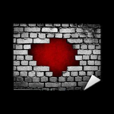 Adesivo grande buco sul muro di mattoni pixers for Adesivi sul muro