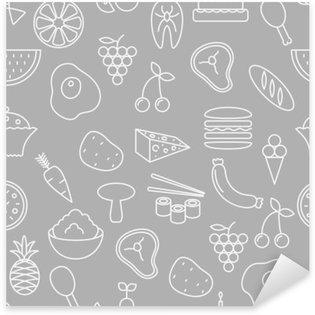 Adesivo Pixerstick Linea sottile icone seamless. Alimentari, frutta e verdura icona sfondo grigio per i siti web, applicazioni, presentazioni, schede, modelli o blog.