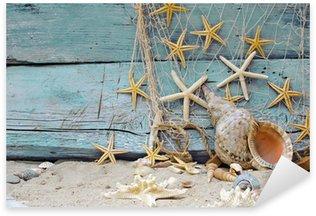 Pixerstick per Tutte le Superfici Maritime Decorazione: rete da pesca, conchiglie e stelle marine