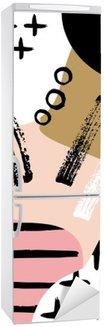 Adesivo per Frigorifero Composizione astratta scandinavo in rosa nero, bianco e pastello.