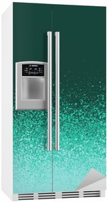 Adesivo per Frigorifero Graffiti spray verde menta dipinto sfondo blu sfumato